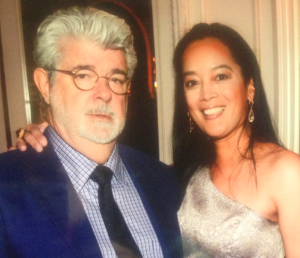 "George Lucas and Cassandra at ""Films Without Borders"", 2012"